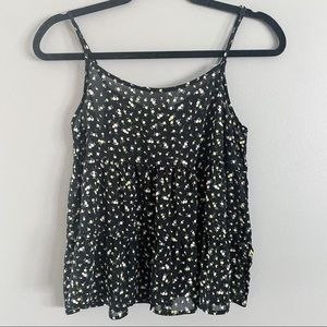 Divided Floral Cropped Tank Top Size Small